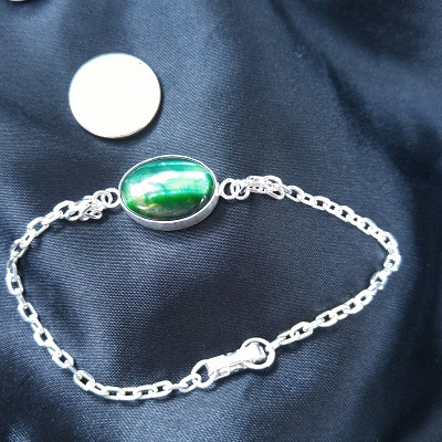 sterling silver beveled chain bracelet