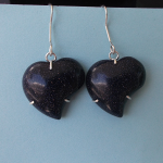 goldstone heart shaped stone earrings