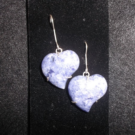 jasper heart shaped stone earrings