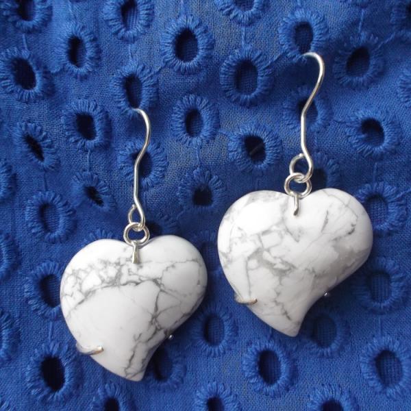 white heart shaped stone earrings