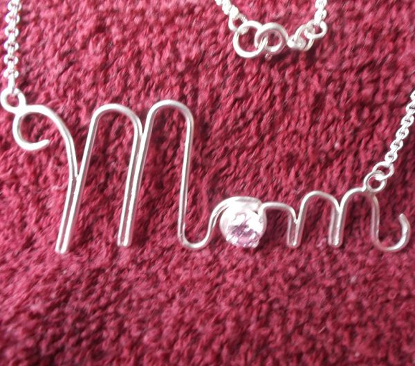 mom necklace with cz