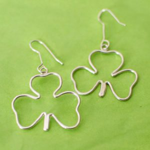 Sterling Silver Shamrock Dangle Earrings