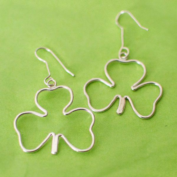 Sterling Silver Shamrock Dangle Earrings